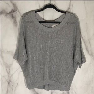 Loft silver metallic flecked gray dolman sweater